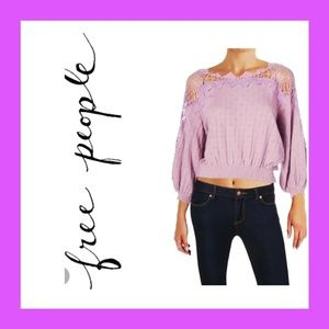 Free people Lace Trim Sweater